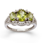 Sterling Silver Peridot 3 Stone Diamond Ring at Sears.com