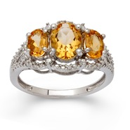 Sterling Silver Citrine 3 Stone Diamond Ring at Sears.com