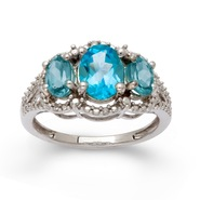 Sterling Silver Blue Topaz 3 Stone Diamond Ring at Sears.com