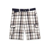 Route 66 Men's Cargo Shorts & Belt - Plaid at mygofer.com