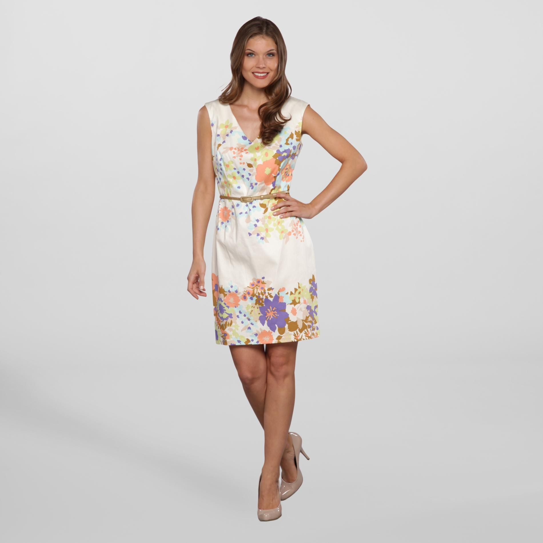 London Times Women's Party Dress & Belt - Floral at Sears.com