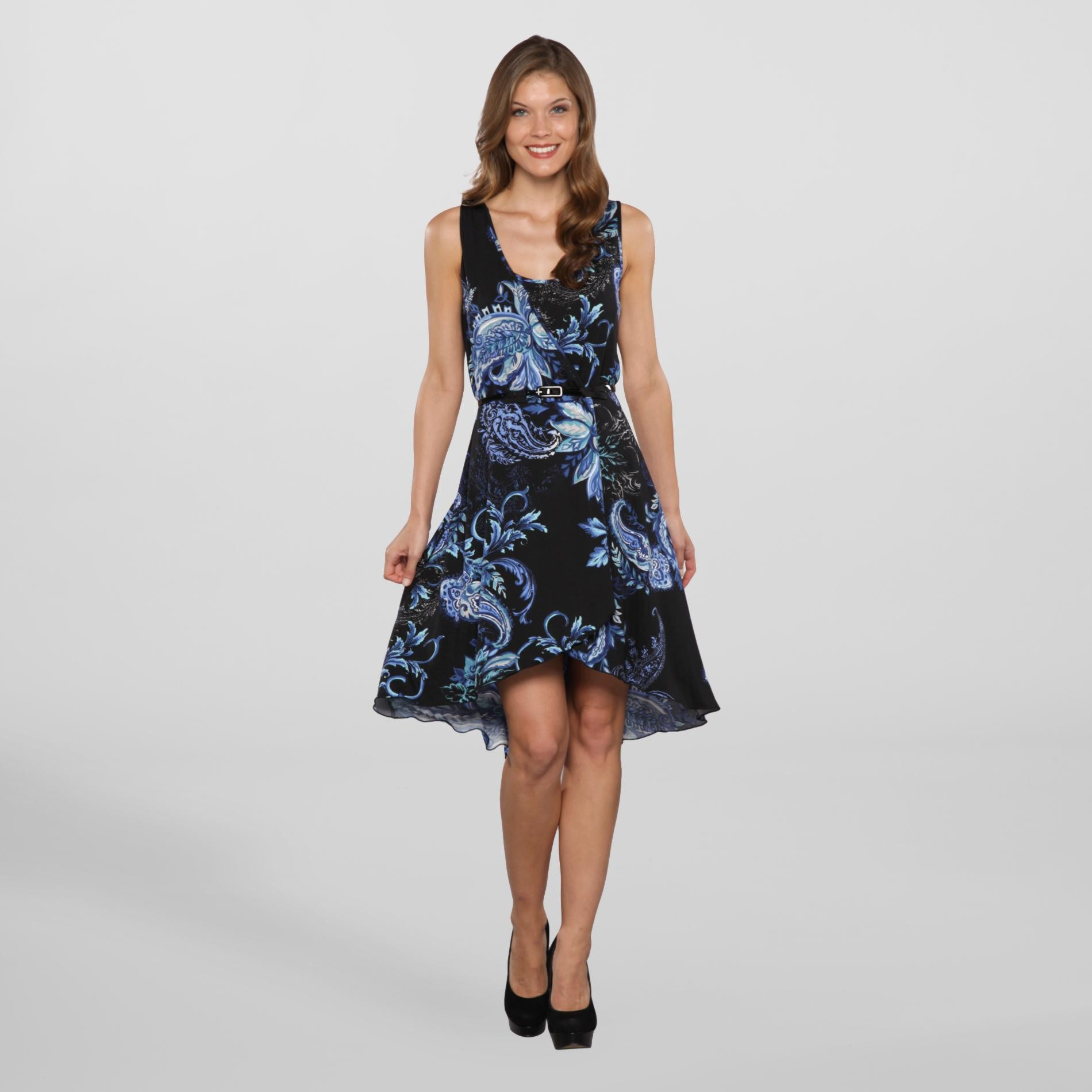 Corey P. Women's Belted High-Low Dress - Floral at Sears.com