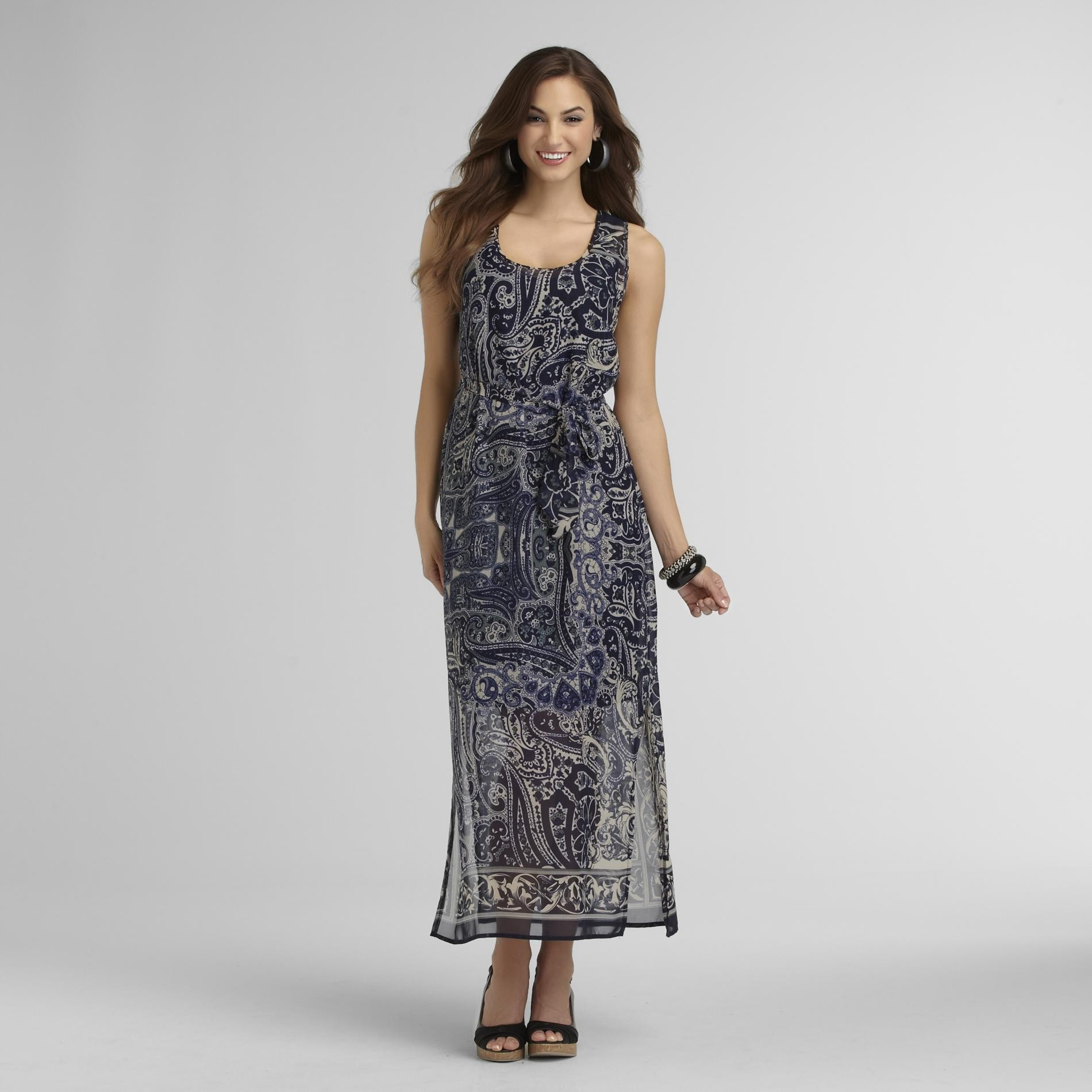 Robbie Bee Women's Chiffon Maxi Dress & Belt - Paisley at Sears.com