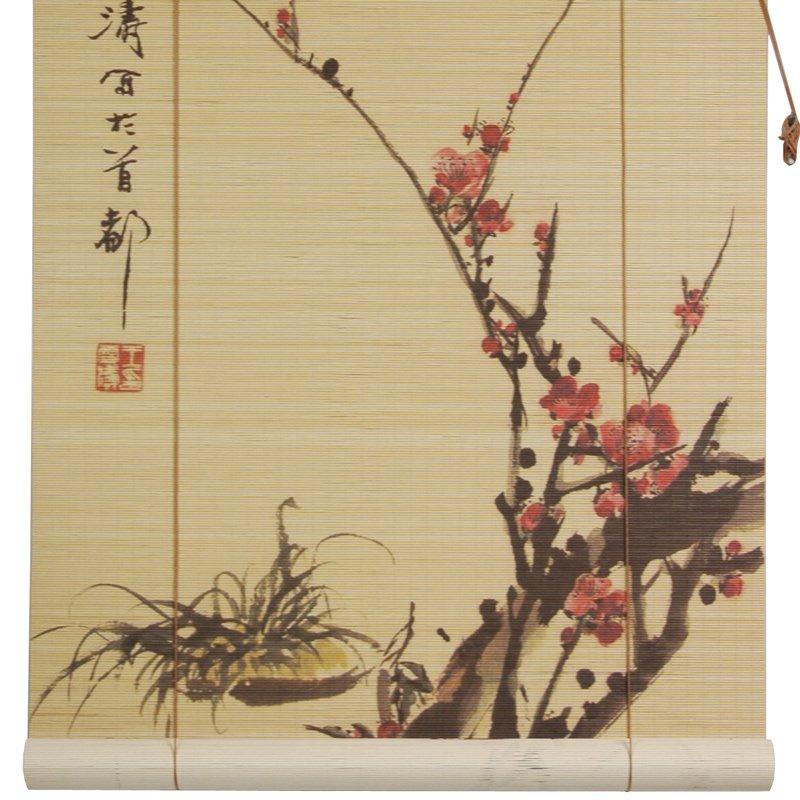 Oriental Furniture Sakura Blossom Bamboo Blinds - (36 in. x 72 in.)