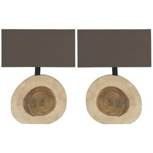 Safavieh Small Circulat Natural Table Lamp with Brown Cotton Shade