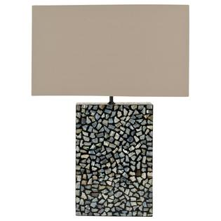 Safavieh Small Cut Pearl Table Lamp with Light Brown Shade