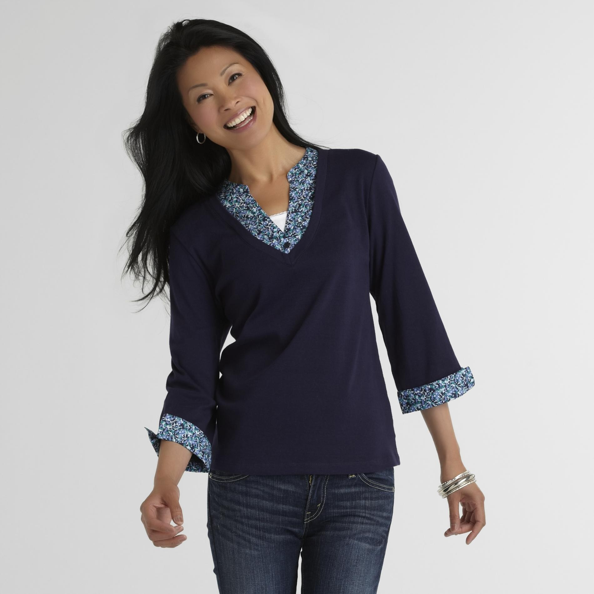 Laura Scott Women's Mock Layered Pullover at Sears.com