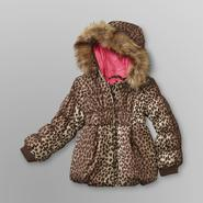 WonderKids Toddler Girl's Hooded Puffer Jacket - Leopard Print at Kmart.com