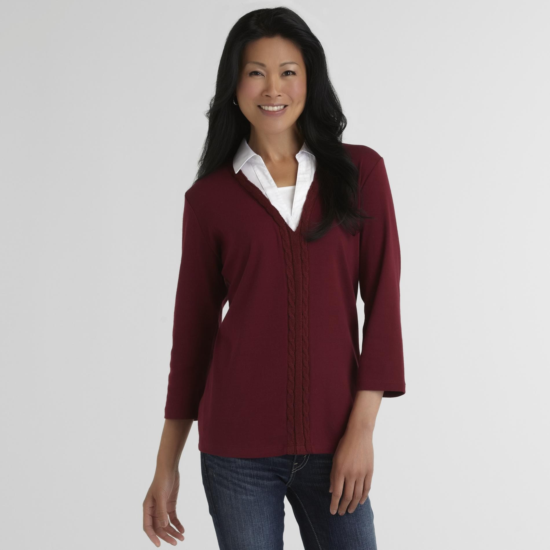 Laura Scott Women's Layered Knit Top - Cardigan Trim at Sears.com