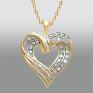 1/2 Cttw. Diamond Gold over Brass Heart Pendant at Sears.com