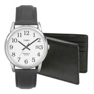 Timex Men's Black Leather Strap Watch & Wallet Bundle ...