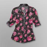Bongo Junior's Lace Blouse with Faux Leather Trim - Floral at Sears.com