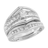 10Kt White Gold Genuine 3/4Ct. Tw. Diamond Bridal Set at Kmart.com
