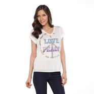 Joe by Joe Boxer Women's Sequined High-Low T-Shirt - Peace & Love at Sears.com