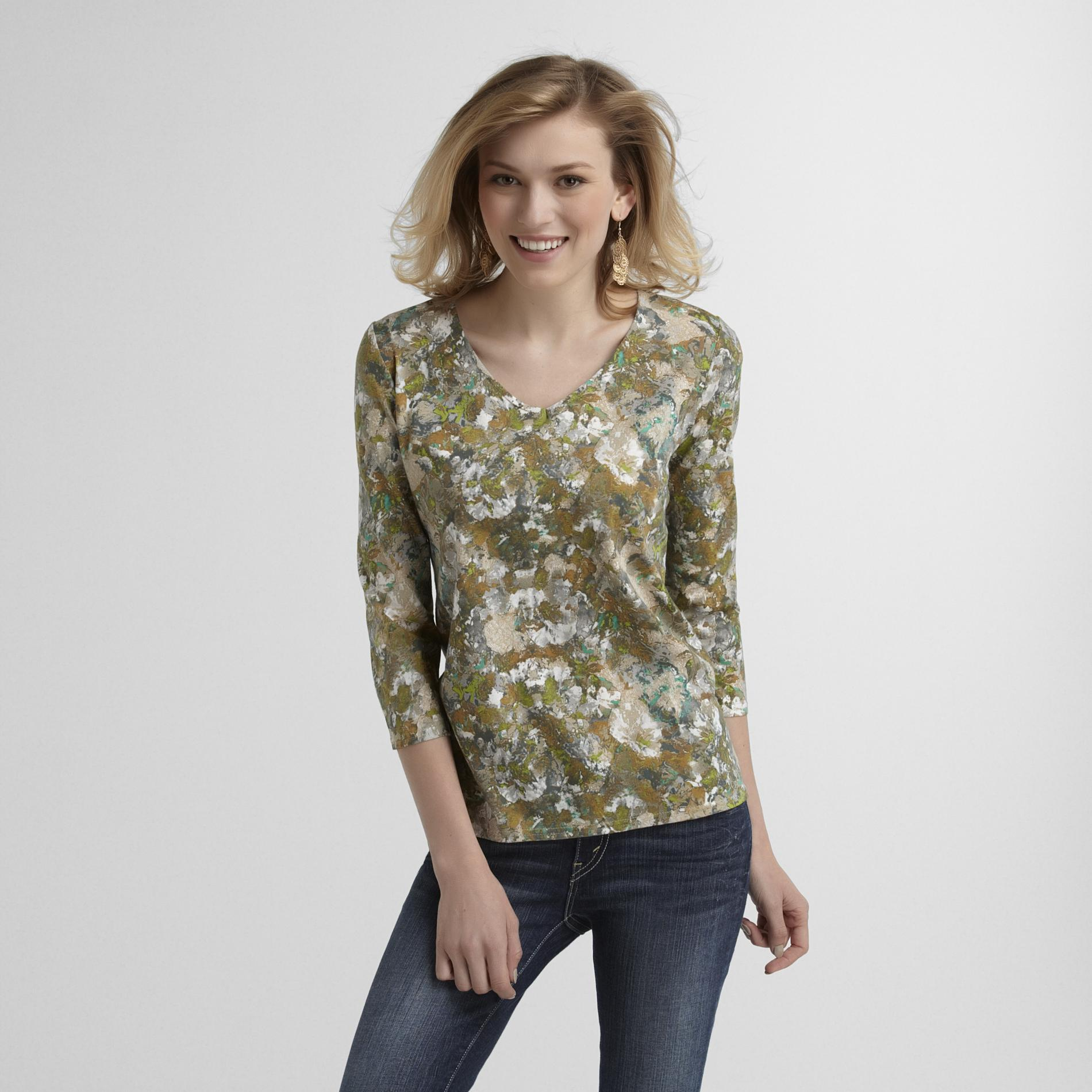 Women's V-Neck T-Shirt - Floral