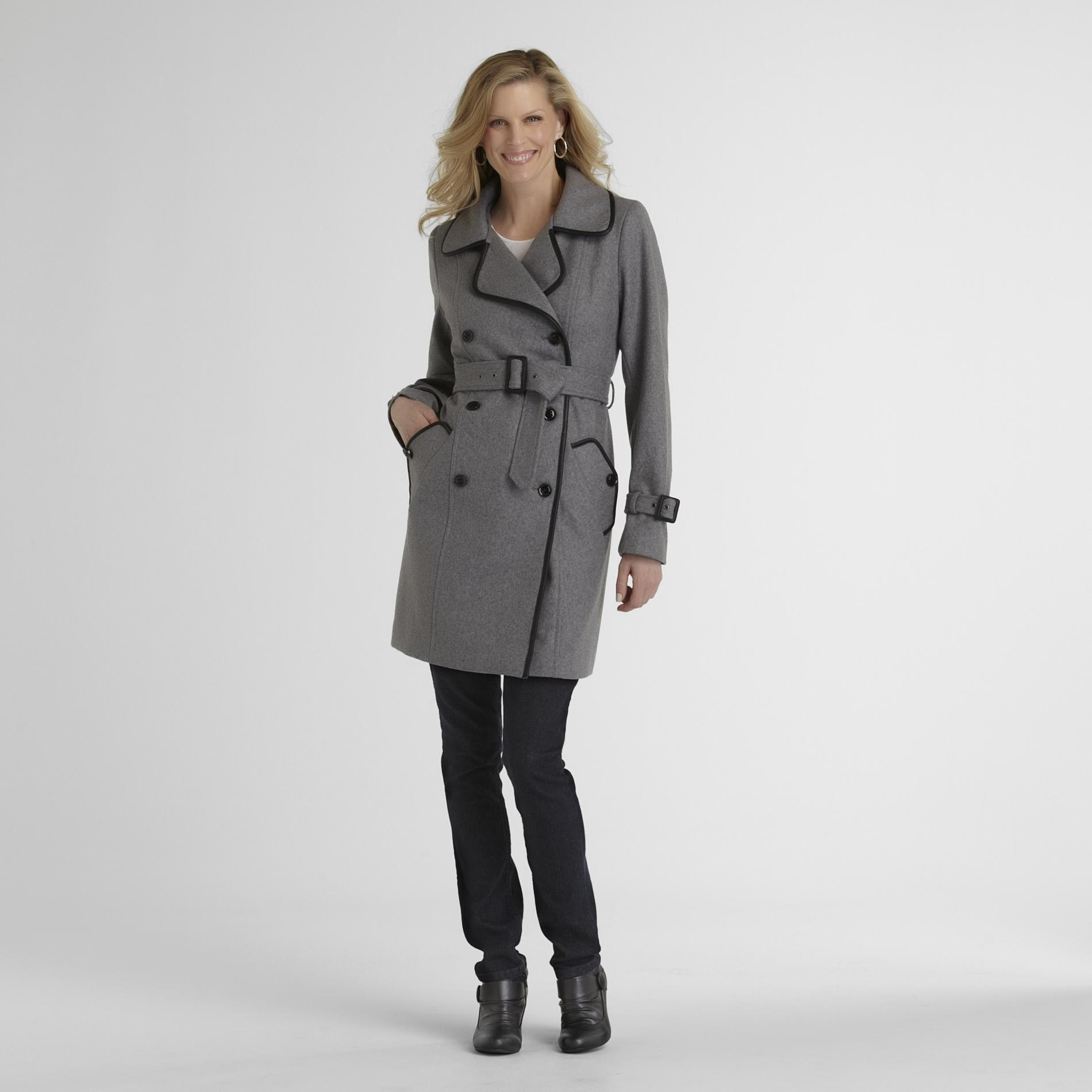 Jaclyn Smith  Women's Wool-Blend Trench Coat