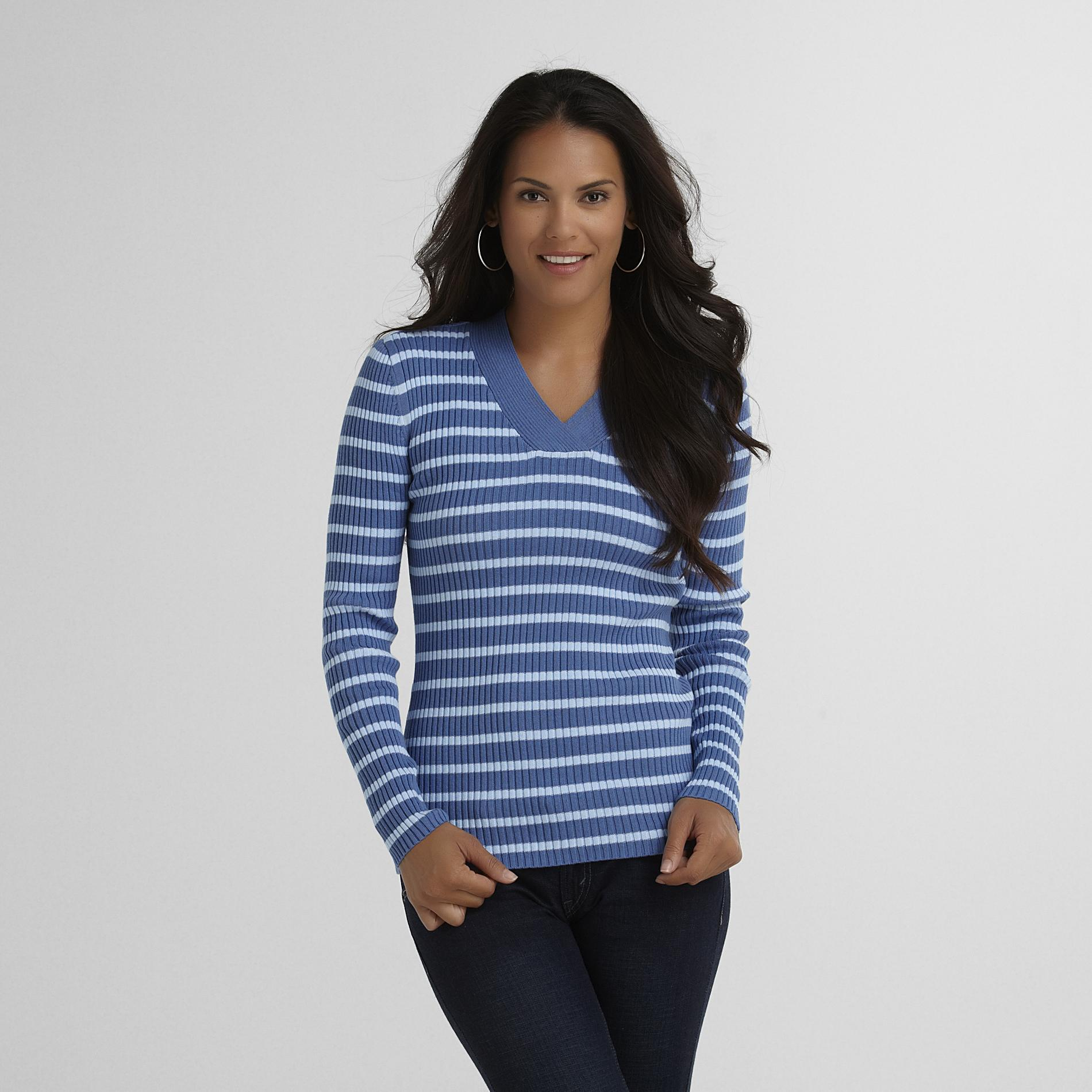 Women's Ribbed Sweater - Striped
