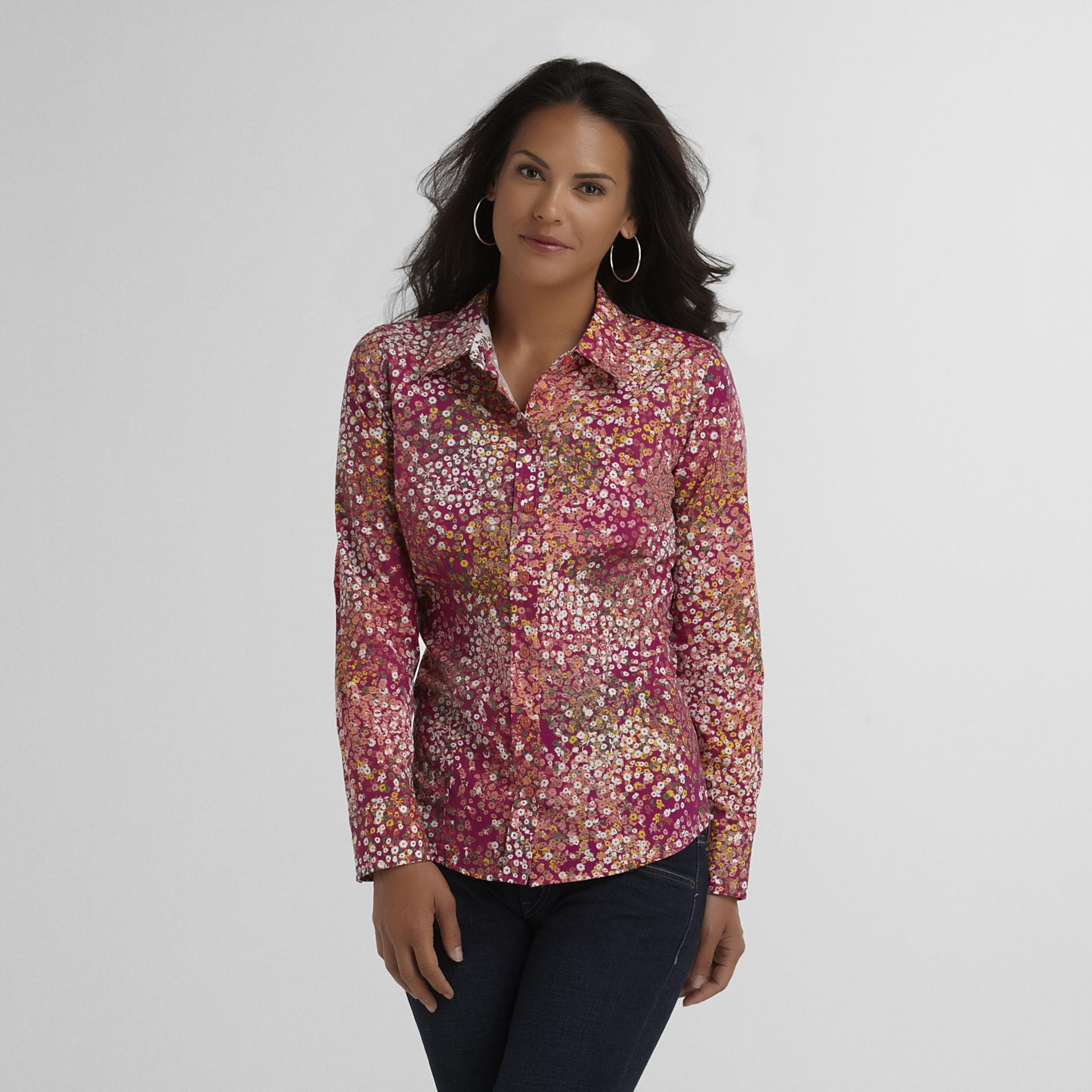 Basic Editions Women's Printed Woven Shirt - Floral at Kmart.com