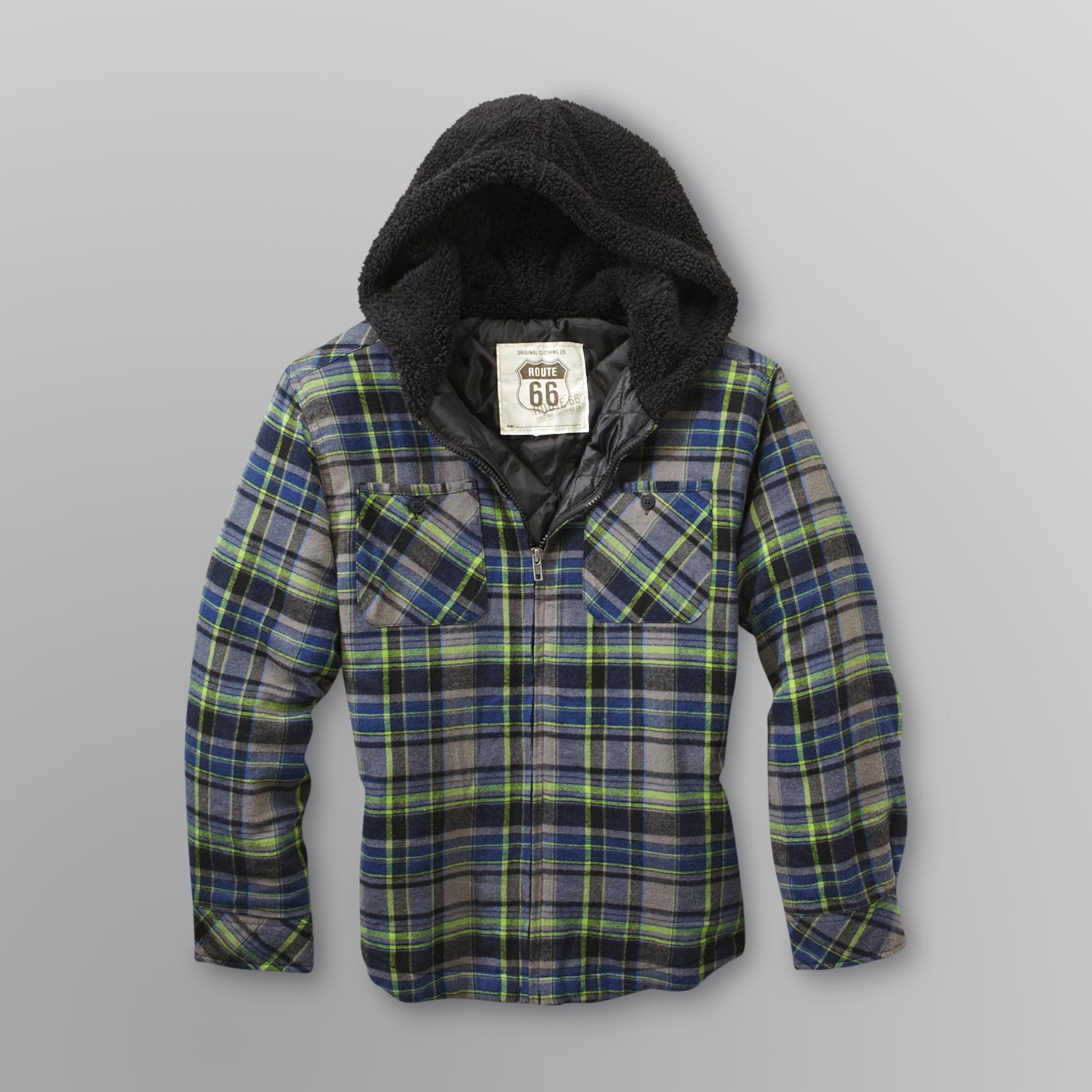 Route 66 Boy's Hooded Flannel Shirt Jacket - Plaid