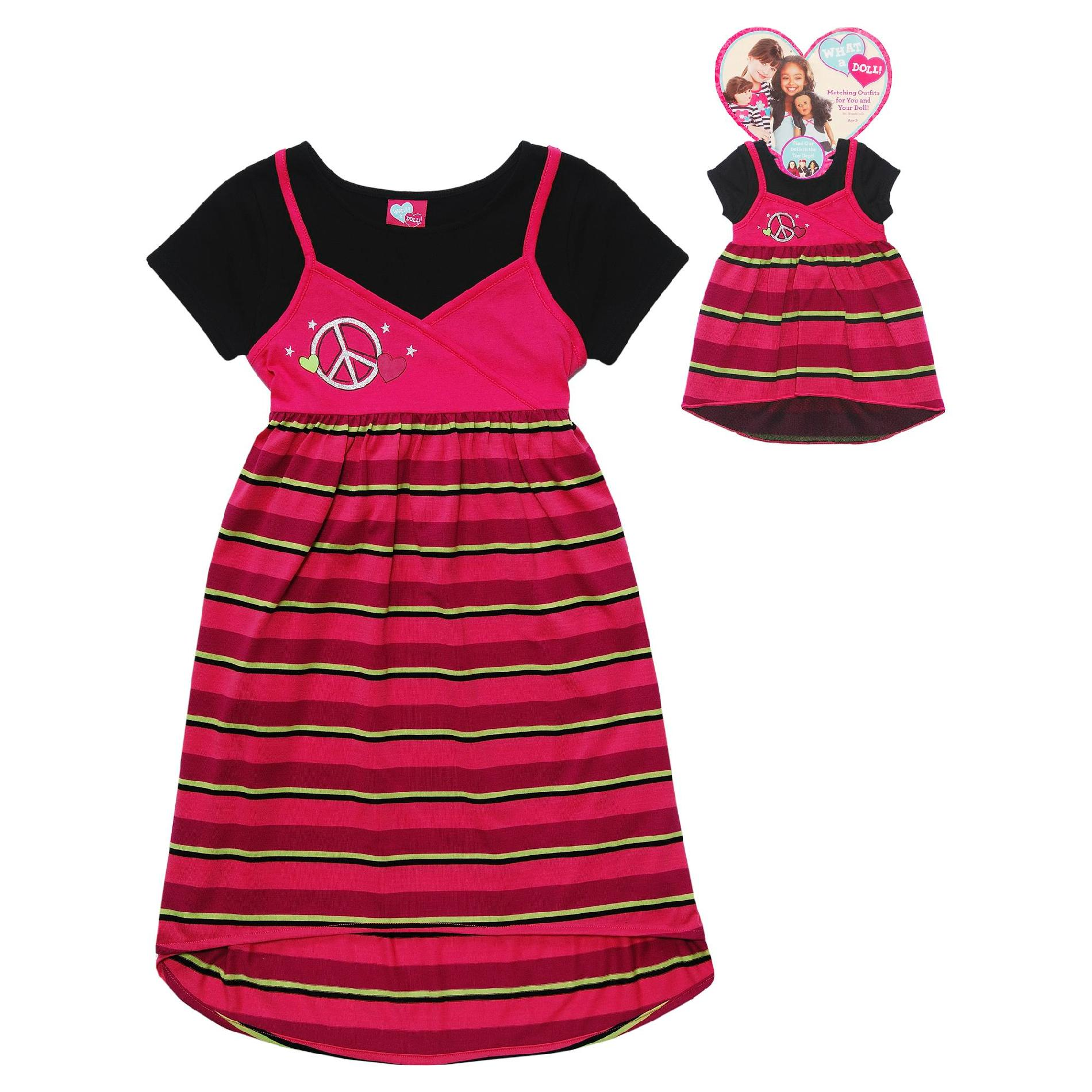 Girl's Layered Look Striped Dress & Doll Dress
