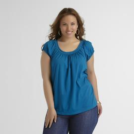 Basic Editions Women's Plus Knit Peasant Top at Kmart.com