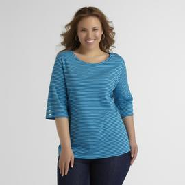 Basic Editions Women's Plus Twisted Neckline Top at Kmart.com