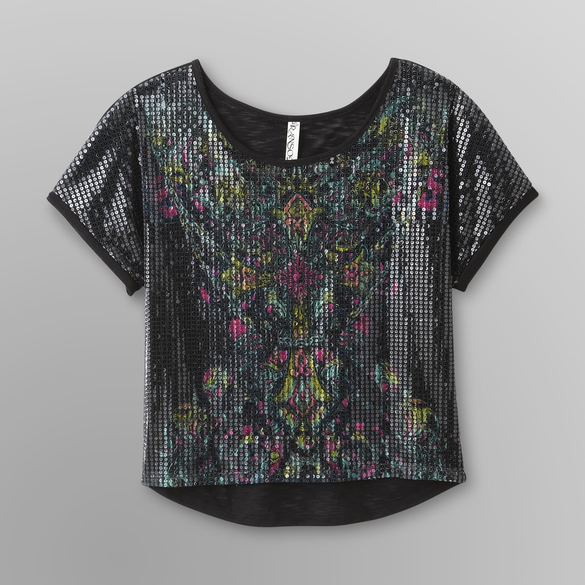 Junior's Sequin Top - Floral