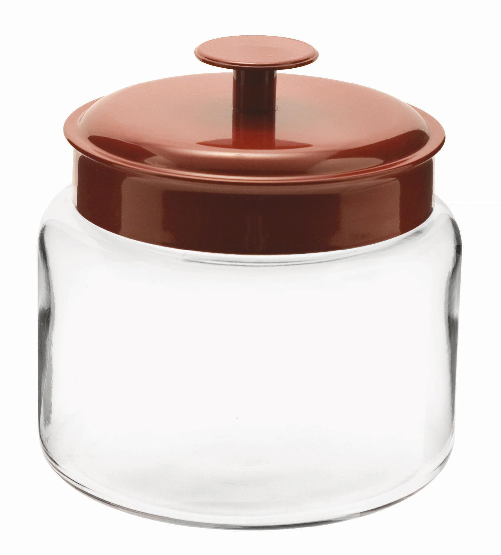 Anchor Hocking Montana Glass Jar - Red Aluminum Lid, 48 oz PartNumber: 011W096515211001P KsnValue: 96515211 MfgPartNumber: 95582