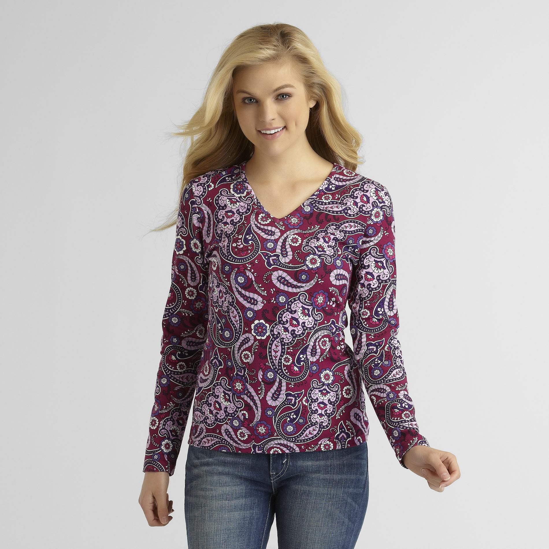 Basic Editions Women's V-Neck T-Shirt - Paisley at Kmart.com