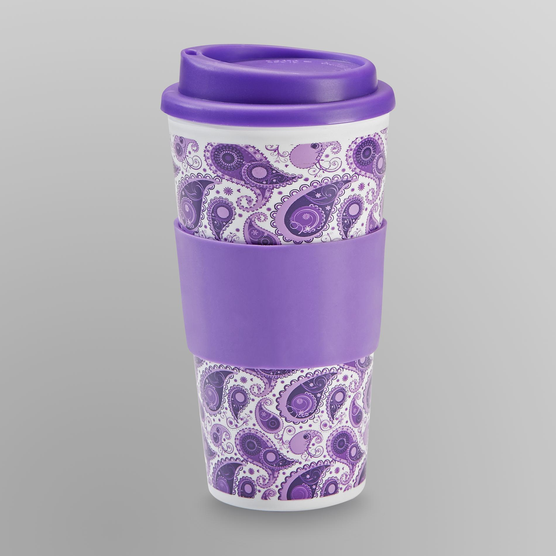 Thermal Mug with Flip Top- Purple Paisley