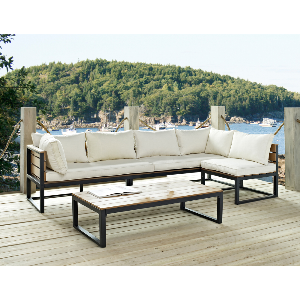 Walker Edison 4-Piece All-Weather Outdoor Conversation Set with Cushions