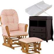 Stork Craft Oak Hoop Glider & Ottoman with Carrara 2 Drawer Changing Table & Pad Bundle at Kmart.com