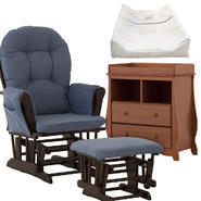 Stork Craft Espresso Hoop Glider & Ottoman with Carrara 2 Drawer Changing Table & Pad Bundle at Kmart.com