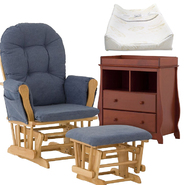 Stork Craft Natural Hoop Glider & Ottoman with Carrara 2 Drawer Chaning Table & Pad Bundle at Kmart.com