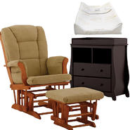 Stork Craft Tuscany Glider & Ottoman with Carrara 2 Drawer Changing Table & Pad Bundle at Kmart.com