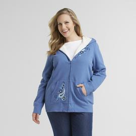 Basic Editions Women's Plus Fleece Hoodie Jacket - Embroidered at Kmart.com