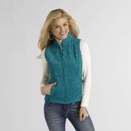 Basic Editions Women's Quilted Corduroy Vest - Floral Print at Sears.com