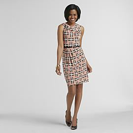Jaclyn Smith Women's Sleeveless Dress & Belt - Logo Print at Kmart.com