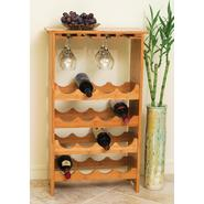Lipper Bamboo 3-Tier 16 Bottle Wine Rack with Glass Hanger at Kmart.com