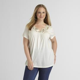 Basic Editions Women's Plus Embellished Knit Shirt at Kmart.com