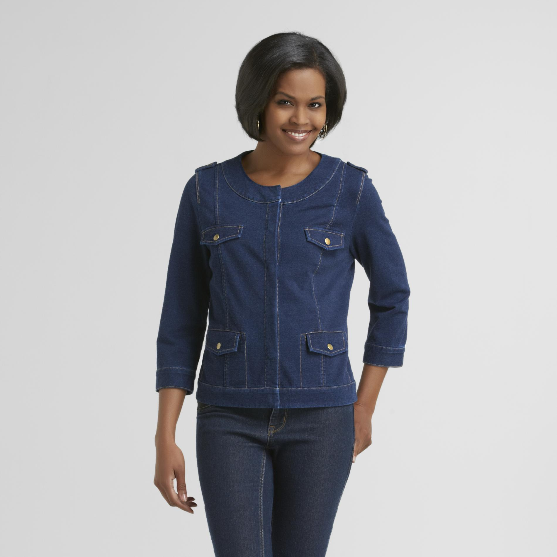 Jaclyn Smith  Women's Knit Denim Blazer