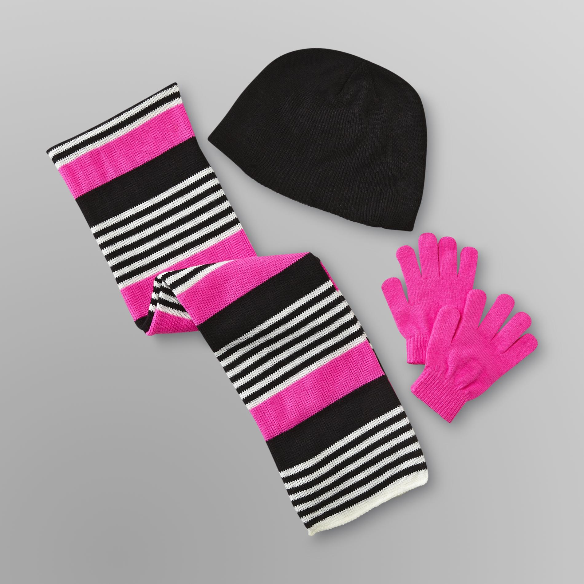 Women's Winter Hat, Gloves & Scarf - Striped