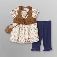 Route 66 Infant & Toddler Girl's Tunic, Vest, Leggings & Pocket Purse - Floral at Kmart.com