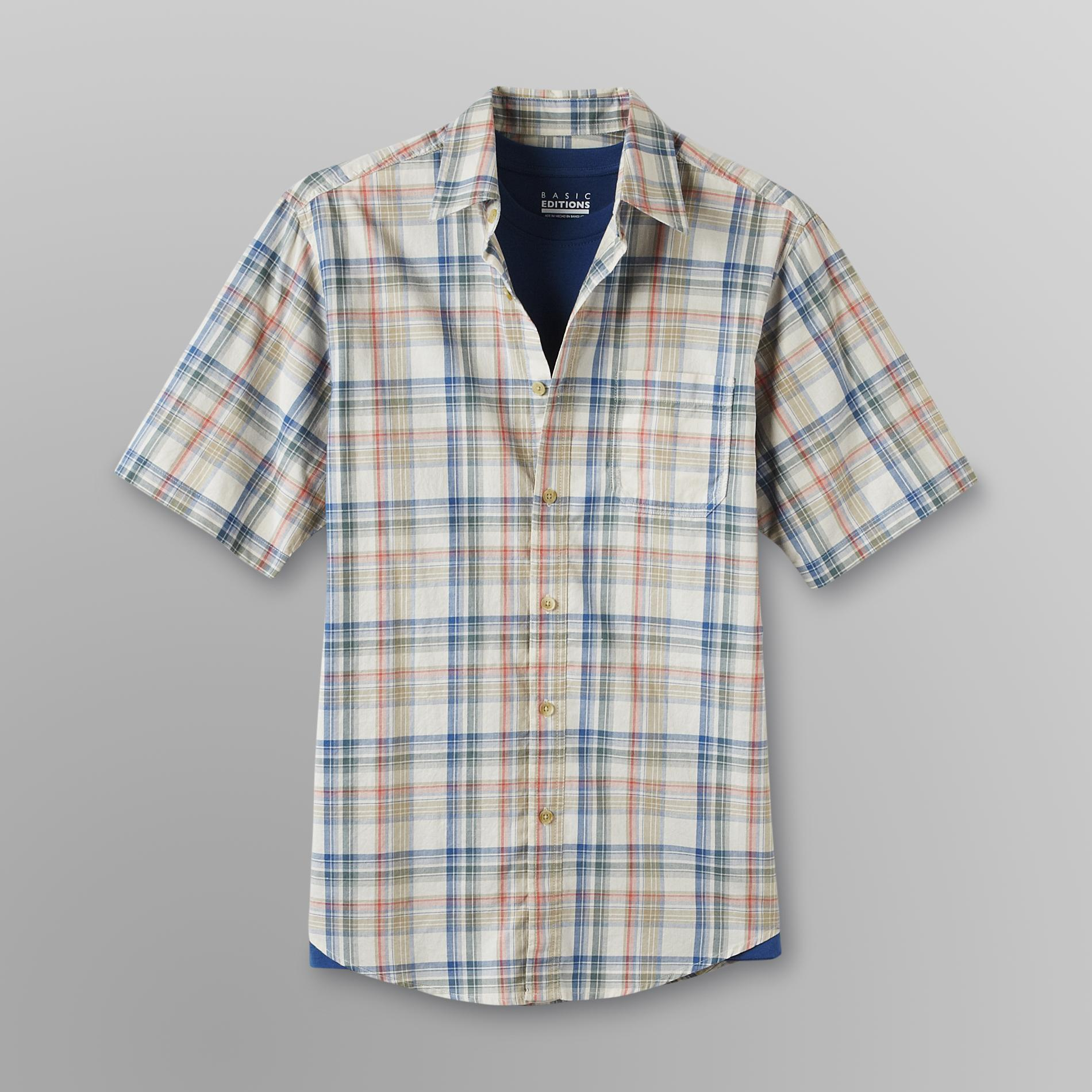 Basic Editions Men's Collared Shirt & T-Shirt - Plaid at Kmart.com