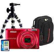 Nikon CoolPix S6500 Red Camera, Case, Memory Card, & Tripod Bundle at Sears.com