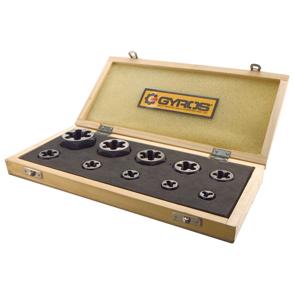 """Gyros (93-16211) 10 pc Left Handed Carbon Steel Hex Rethreading Die Set - 1/4"""" to 1"""" NC PartNumber: 00936093000P KsnValue: 00936093000 MfgPartNumber: 93-16211"""