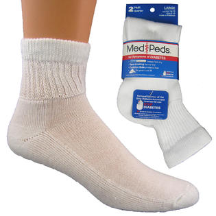 MediPeds Diabetic Quarter Sock- 2 Pr - Clothing, Shoes