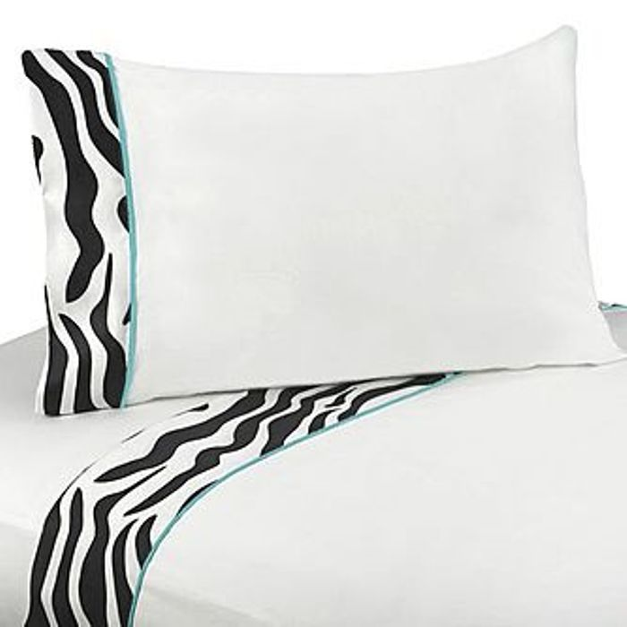 Sweet Jojo Designs Zebra Turquoise Collection Sheet Set