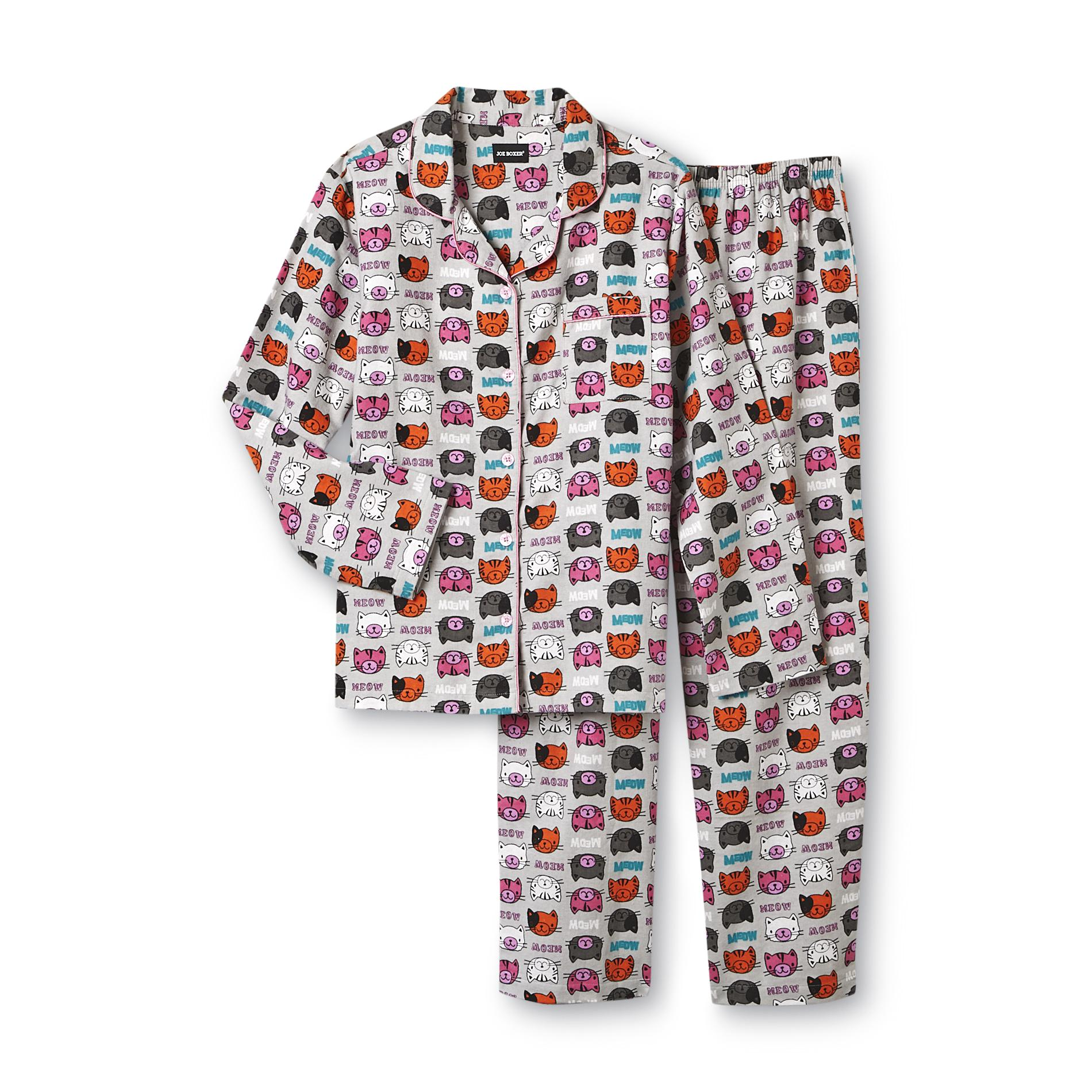 Joe Boxer Women's 2-Piece Flannel Pajama Set - Kitty at Kmart.com