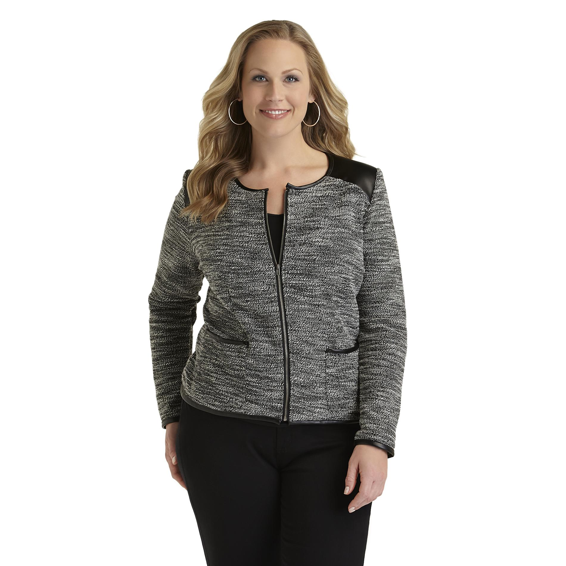 Women's Plus Textured Tweed Jacket